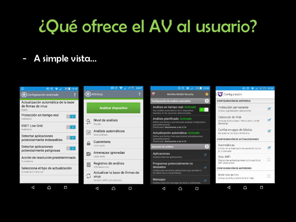 ¿Qué ofrece el AV al usuario? - A simple vista…