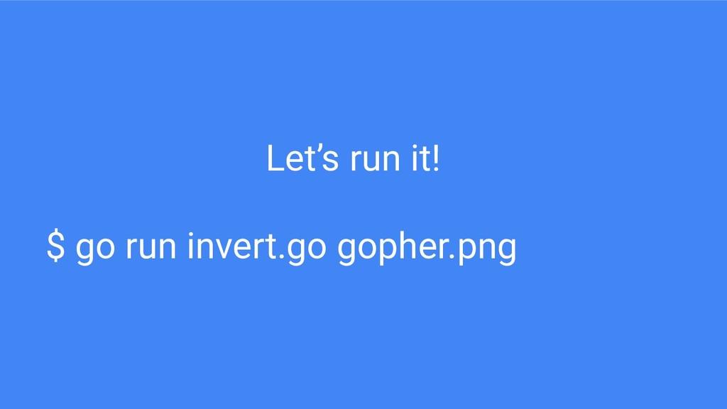 Let's run it! $ go run invert.go gopher.png