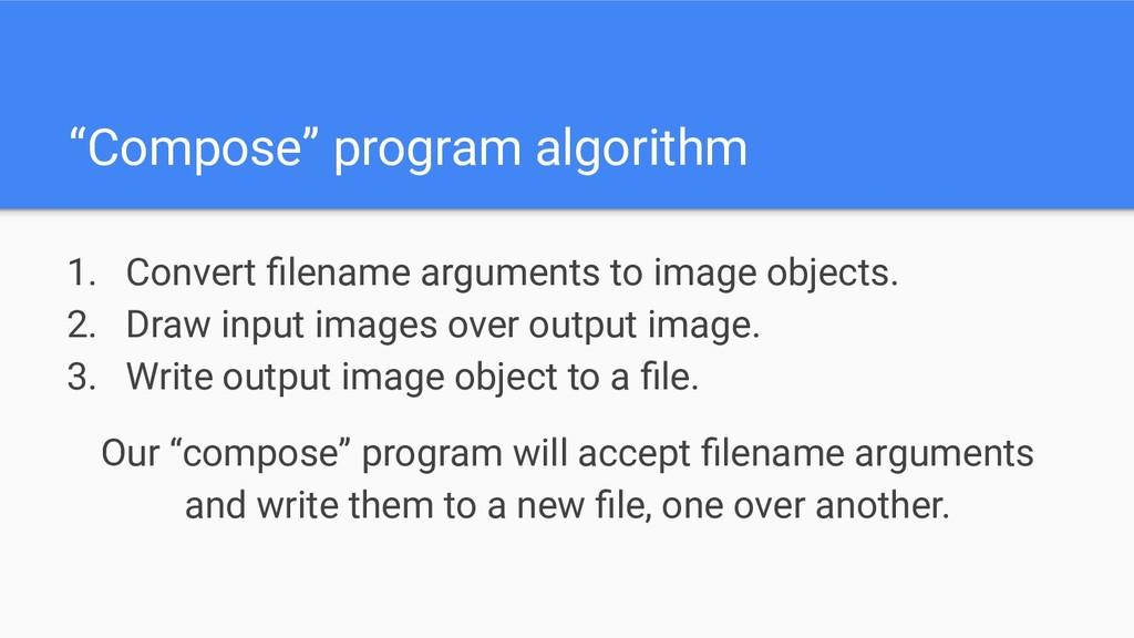 """Compose"" program algorithm 1. Convert filename ..."