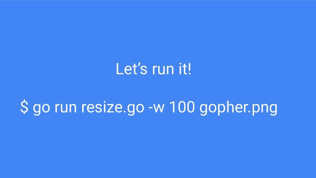 Let's run it! $ go run resize.go -w 100 gopher....