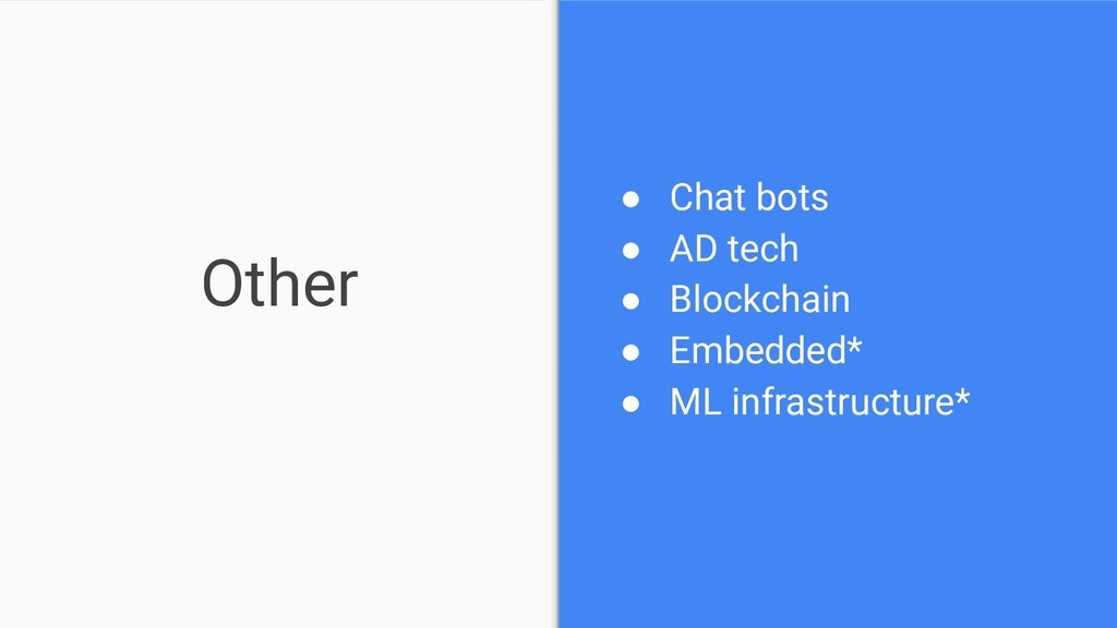 Other ● Chat bots ● AD tech ● Blockchain ● Embe...
