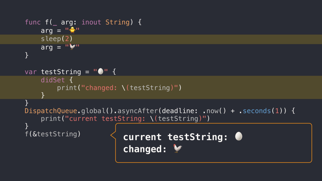 current testString:  changed:  func f(_ arg: in...