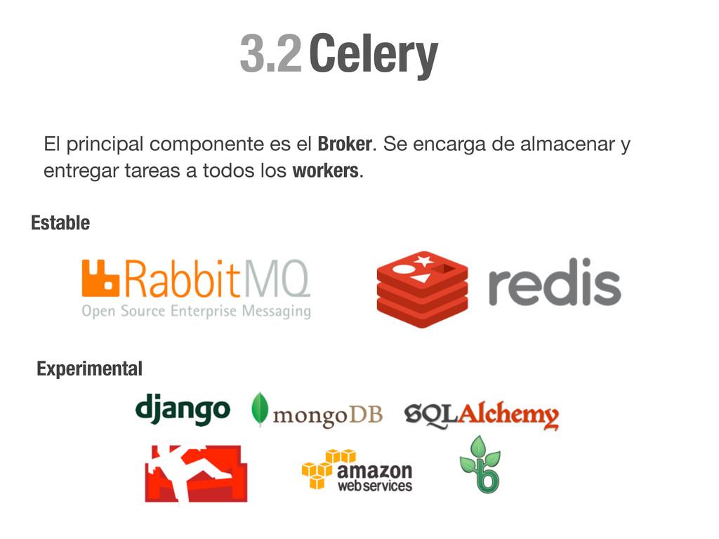 Celery 3.2 El principal componente es el Broker...