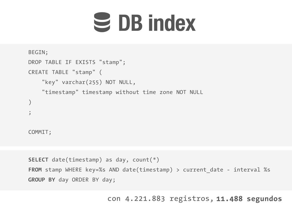 !DB index SELECT date(timestamp) as day, count(...