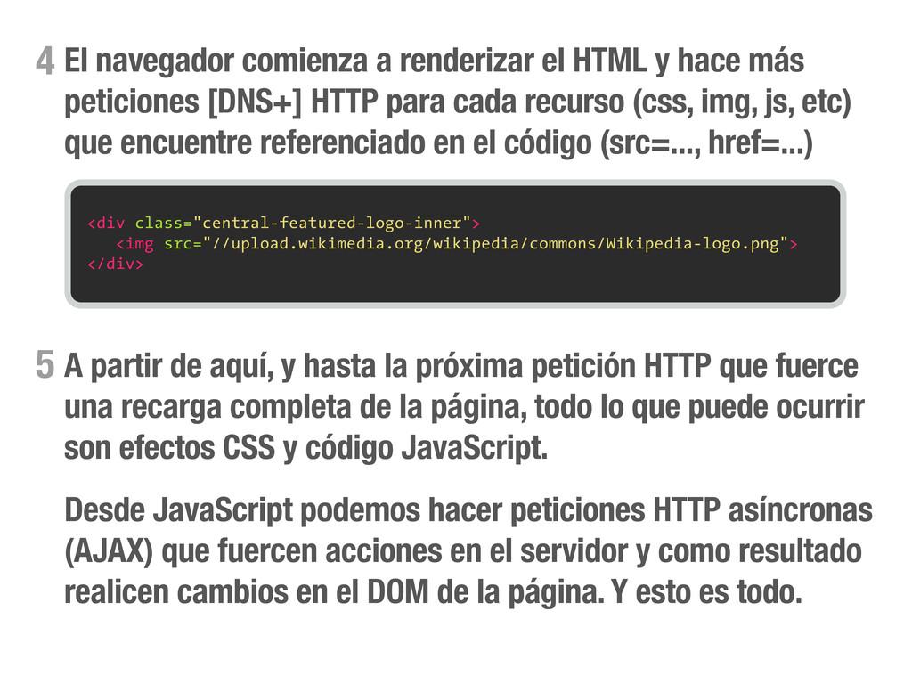 El navegador comienza a renderizar el HTML y ha...