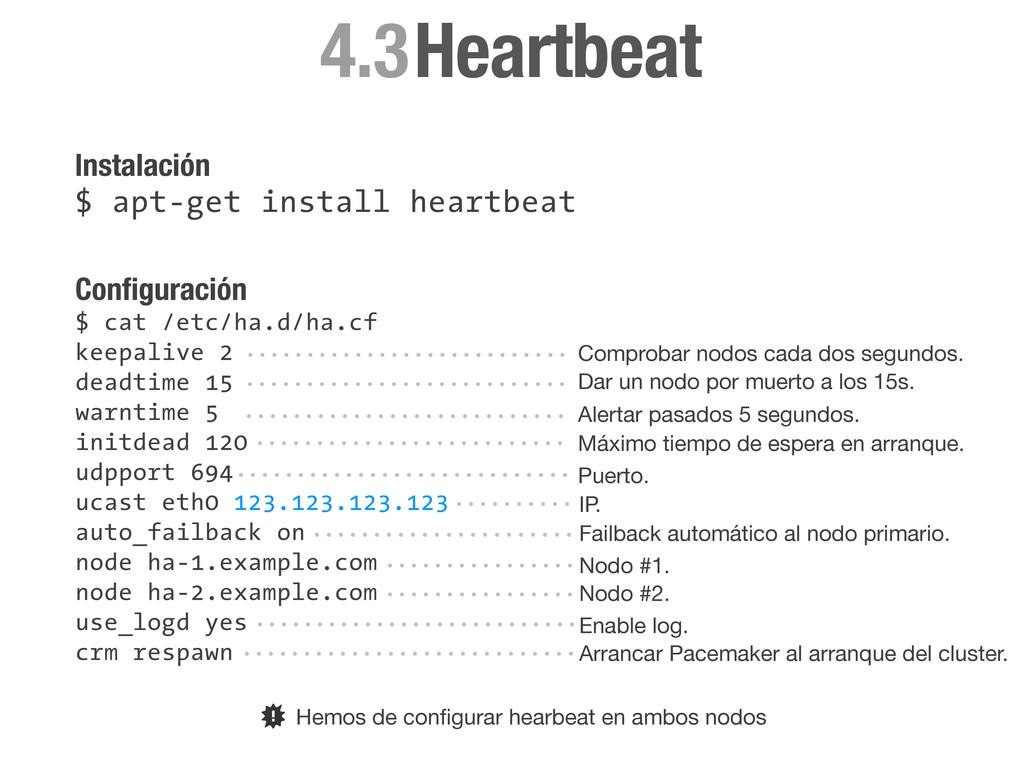 Configuración $ cat /etc/ha.d/ha.cf keepalive 2 ...