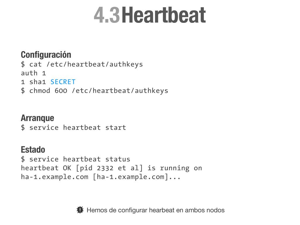 Configuración $ cat /etc/heartbeat/authkeys auth...