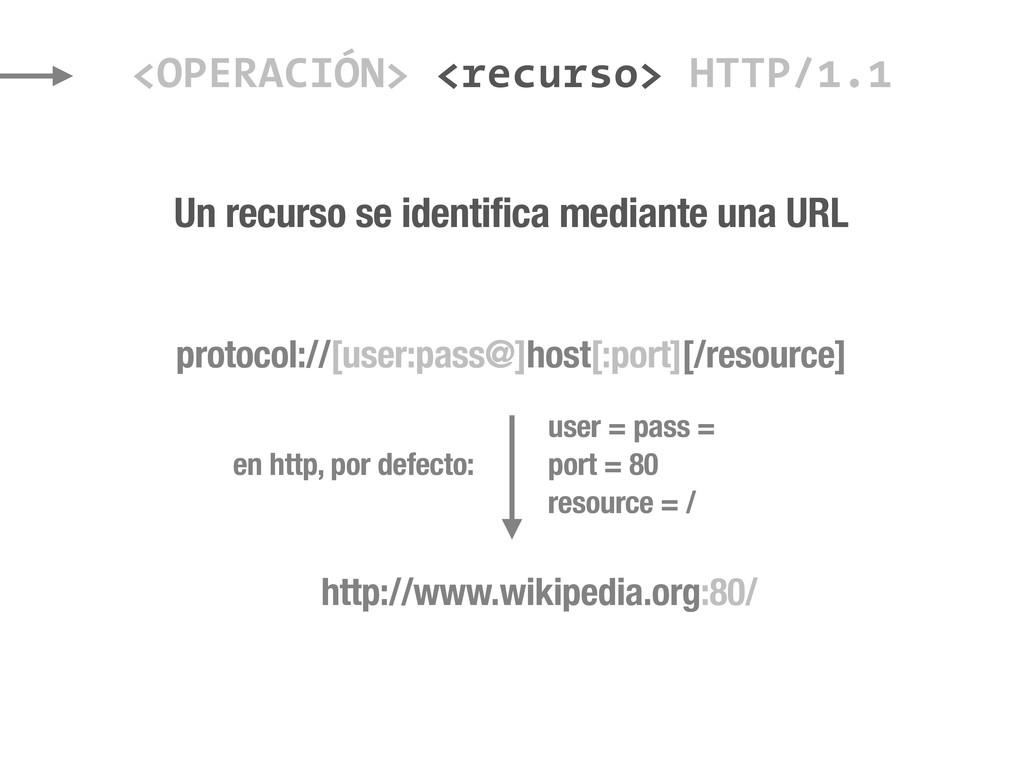 Un recurso se identifica mediante una URL <OPER...