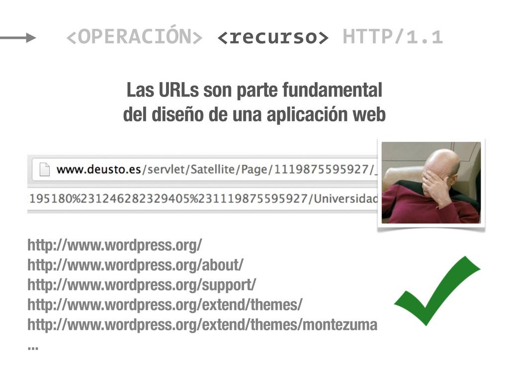 <OPERACIÓN> <recurso> HTTP/1.1 Las URLs son par...