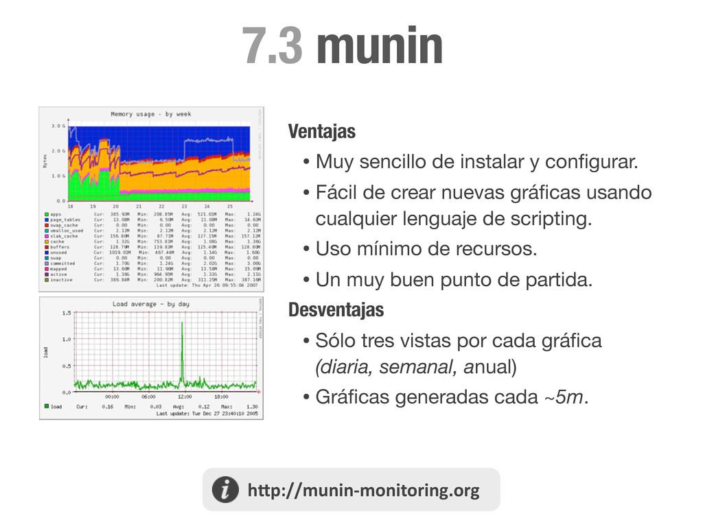 munin 7.3 Ventajas • Muy sencillo de instalar y...
