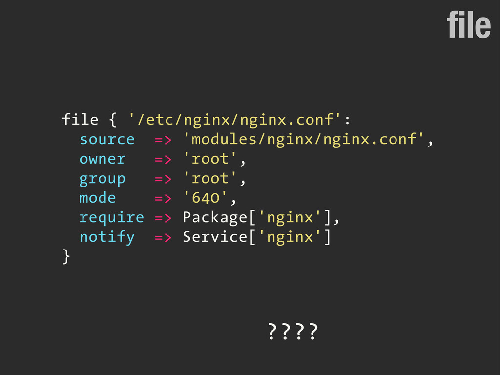 file file { '/etc/nginx/nginx.conf': source => ...
