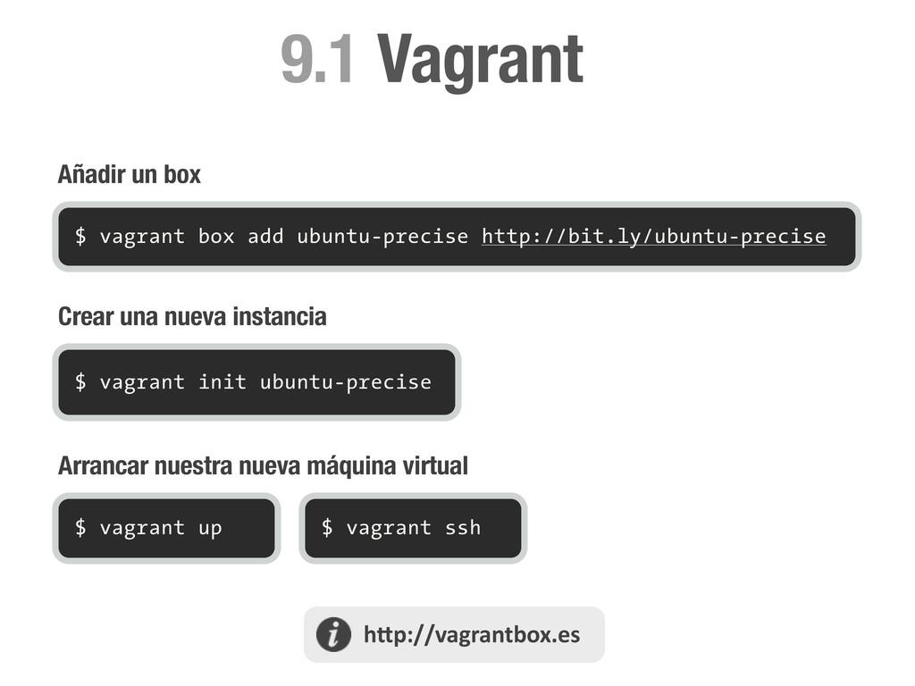 Añadir un box Vagrant 9.1 $ vagrant box add ubu...