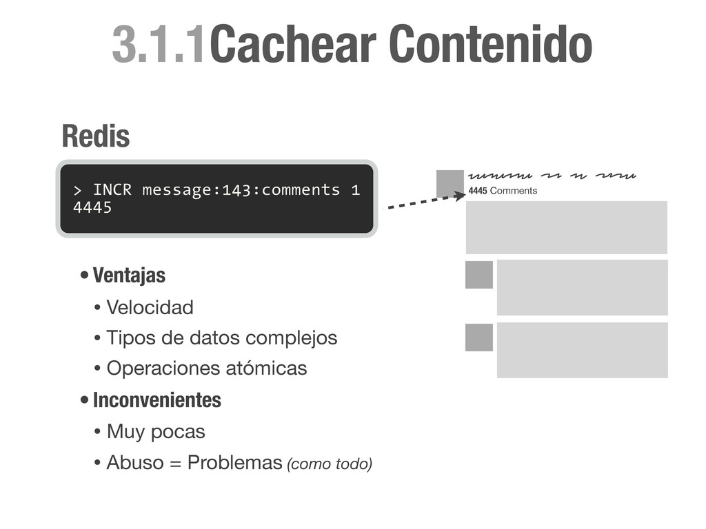 > INCR message:143:comments 1 4445 Redis •Venta...