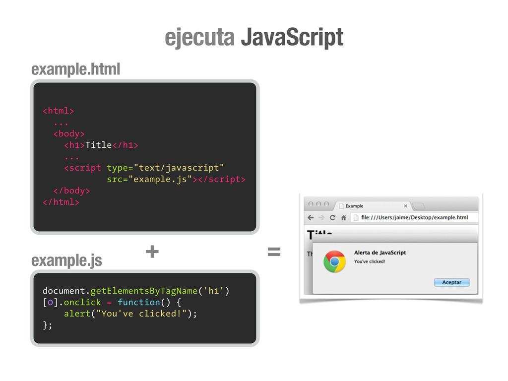 ejecuta JavaScript <html> ... <body> <h1>Title<...