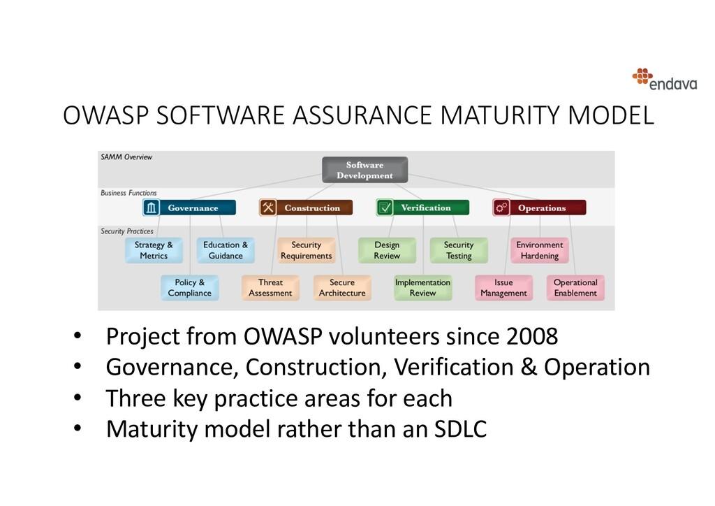 OWASP SOFTWARE ASSURANCE MATURITY MODEL • Proje...