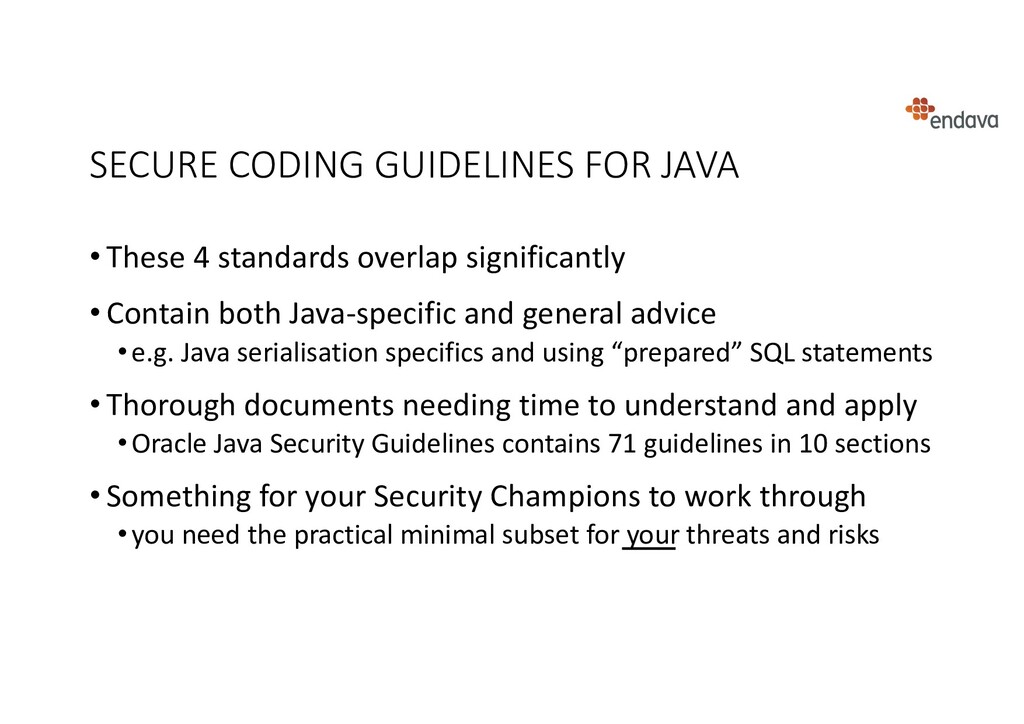 SECURE CODING GUIDELINES FOR JAVA • These 4 sta...