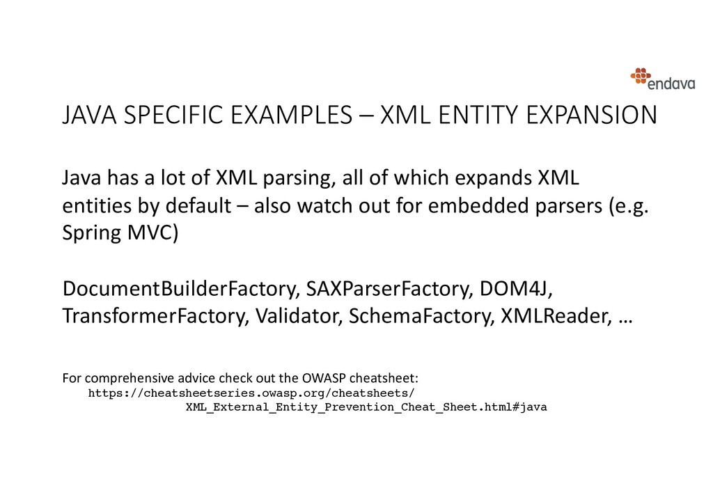 JAVA SPECIFIC EXAMPLES – XML ENTITY EXPANSION J...