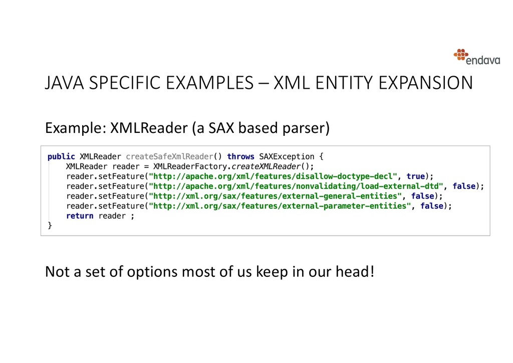 JAVA SPECIFIC EXAMPLES – XML ENTITY EXPANSION E...