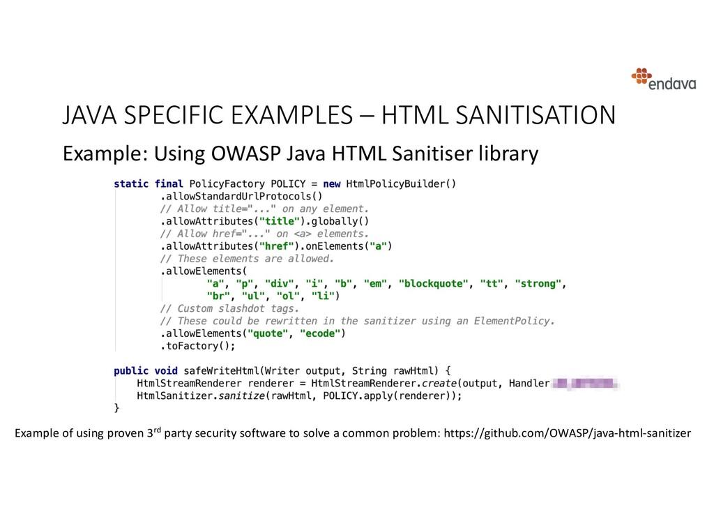 JAVA SPECIFIC EXAMPLES – HTML SANITISATION Exam...