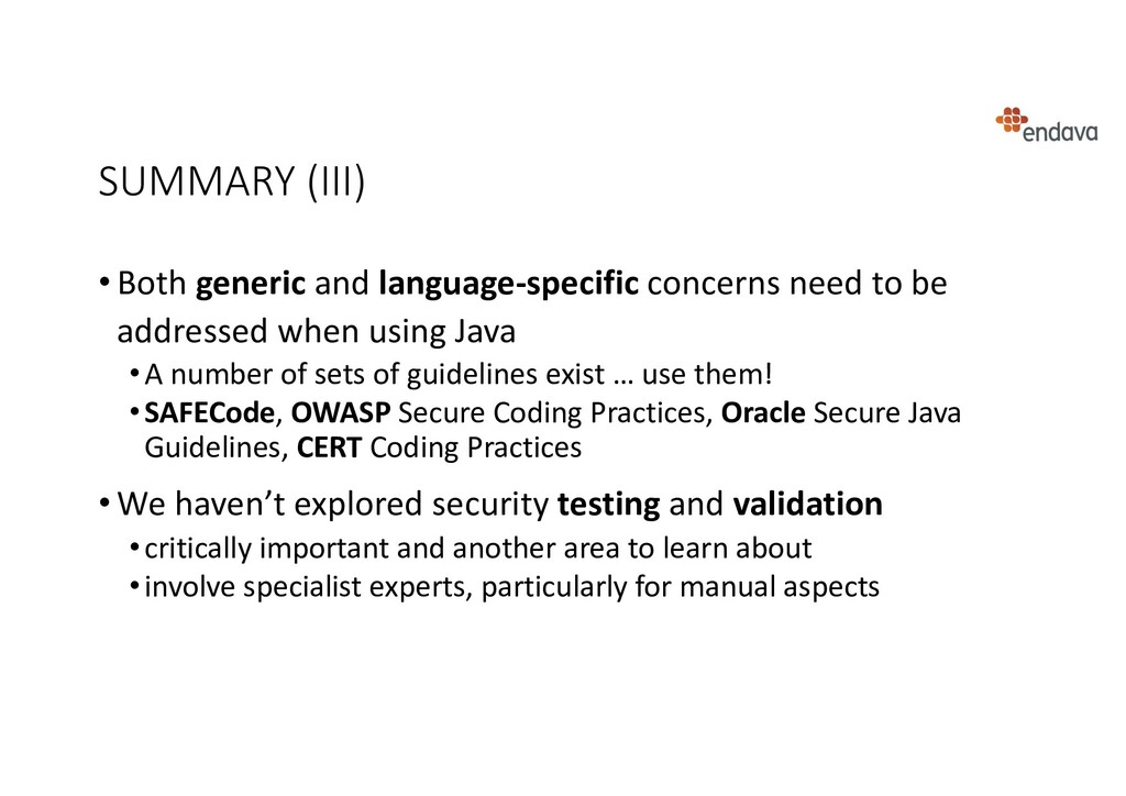 SUMMARY (III) • Both generic and language-speci...