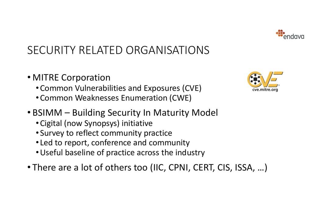 SECURITY RELATED ORGANISATIONS • MITRE Corporat...