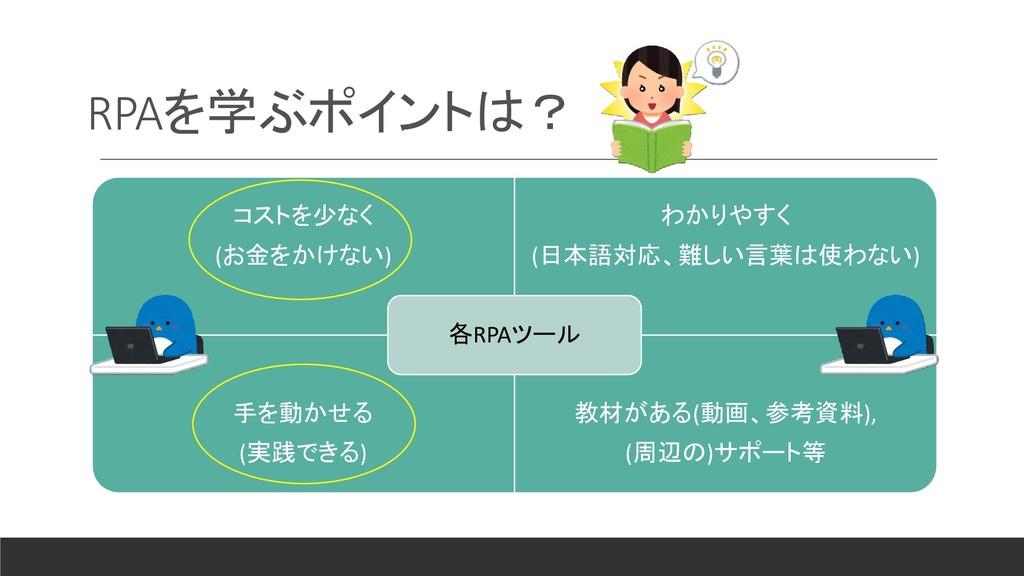 RPAを学ぶポイントは? コストを少なく (お金をかけない) わかりやすく (日本語対応、難し...