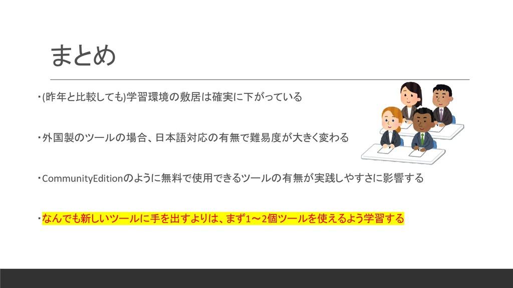 まとめ ・(昨年と比較しても)学習環境の敷居は確実に下がっている ・外国製のツールの場合、日本...