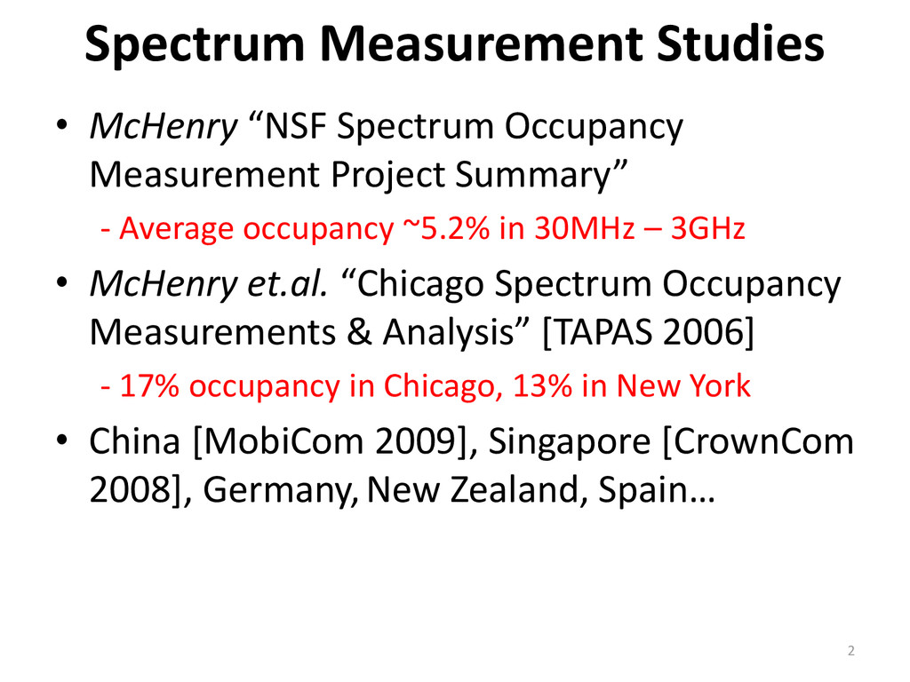 "• McHenry ""NSF Spectrum Occupancy Measurement P..."