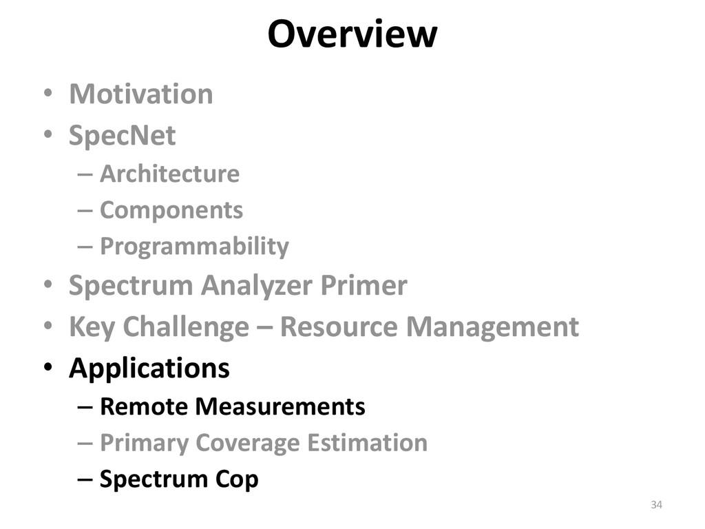 • Motivation • SpecNet – Architecture – Compone...