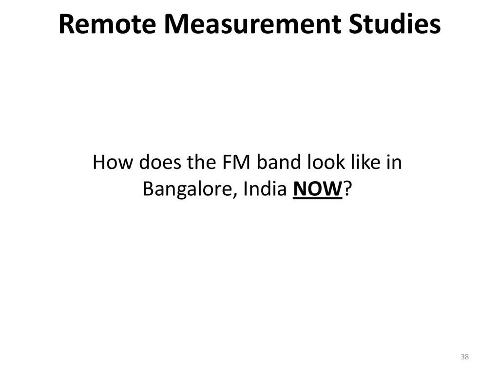 38 Remote Measurement Studies How does the FM b...