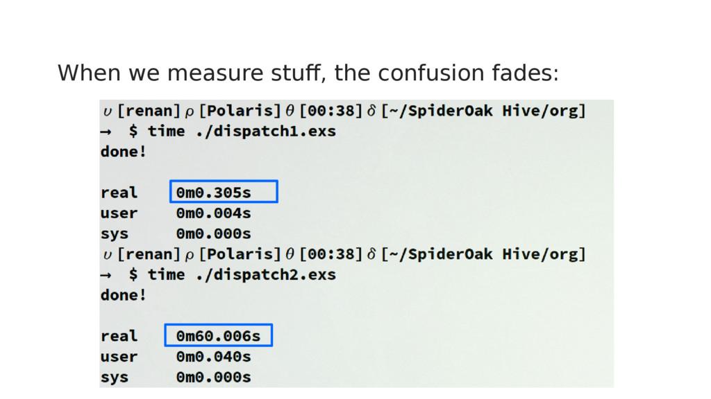When we measure stuff, the confusion fades: