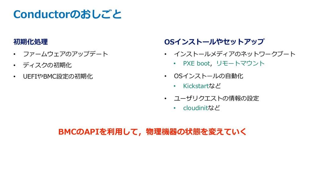 初期化処理 • ファームウェアのアップデート • ディスクの初期化 • UEFIやBMC設定の...