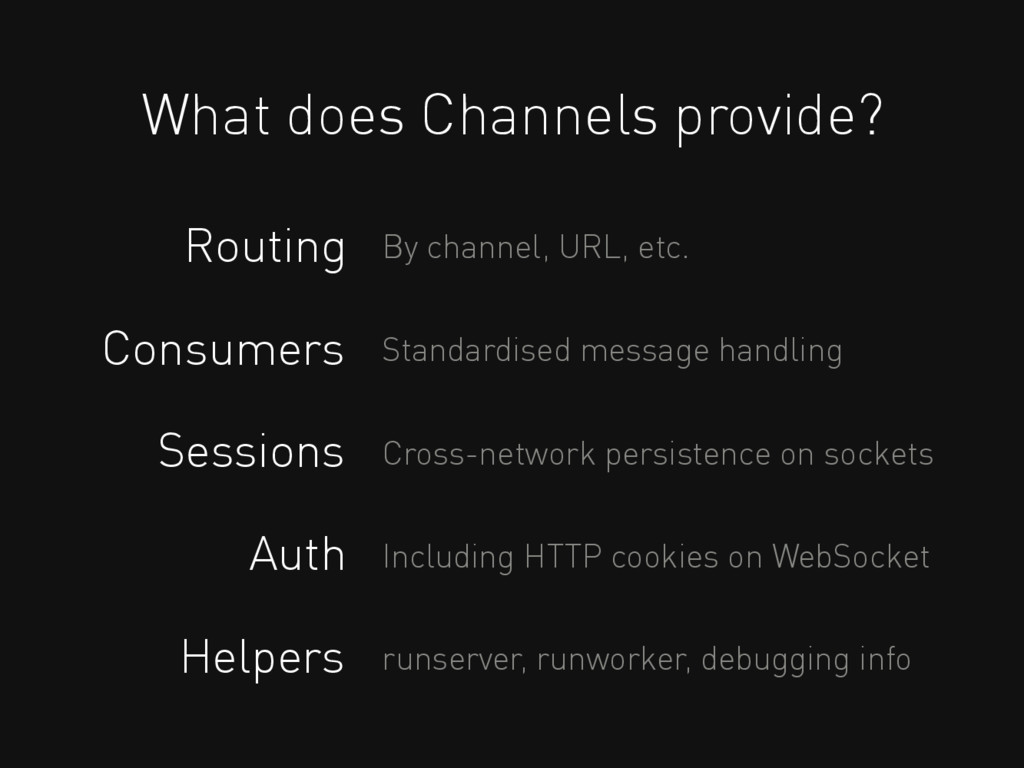 What does Channels provide? Routing Consumers S...
