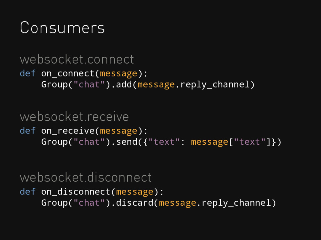 "Consumers def on_connect(message): Group(""chat""..."