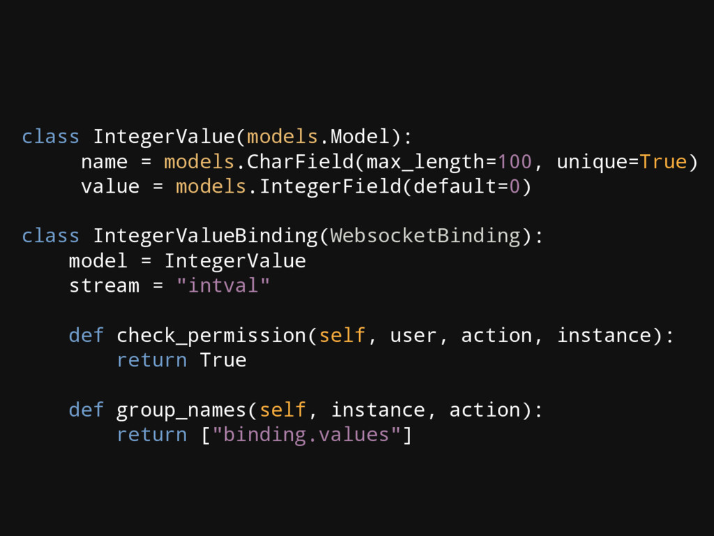 class IntegerValue(models.Model): name = models...