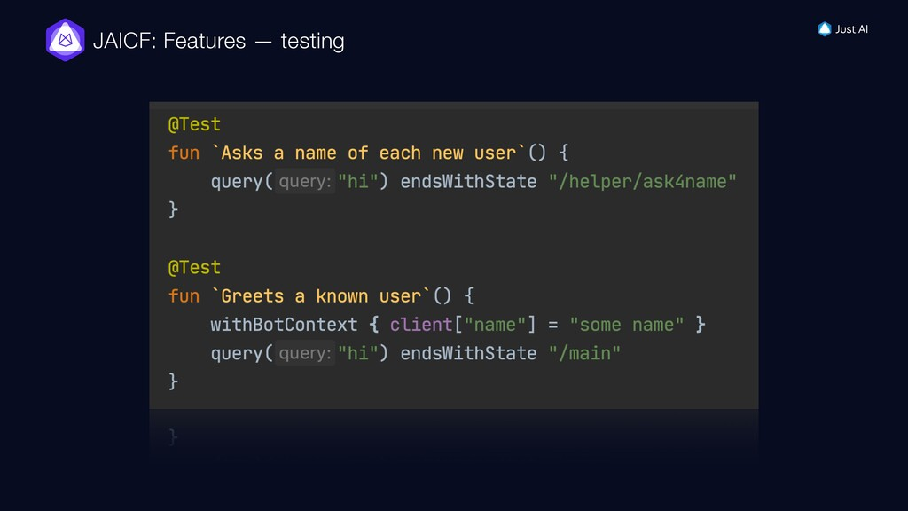 JAICF: Features — testing