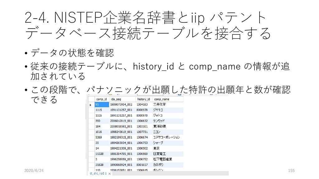2-4. NISTEP企業名辞書とiip パテント データベース接続テーブルを接合する • デ...