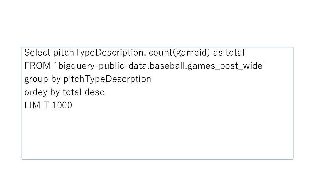 Select pitchTypeDescription, count(gameid) as t...