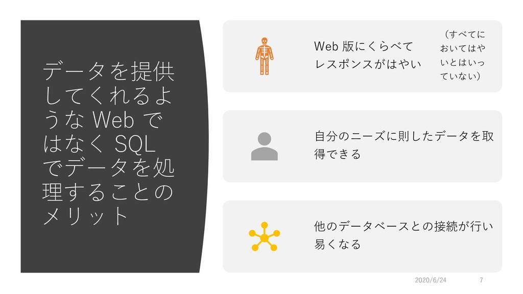 データを提供 してくれるよ うな Web で はなく SQL でデータを処 理することの メリ...