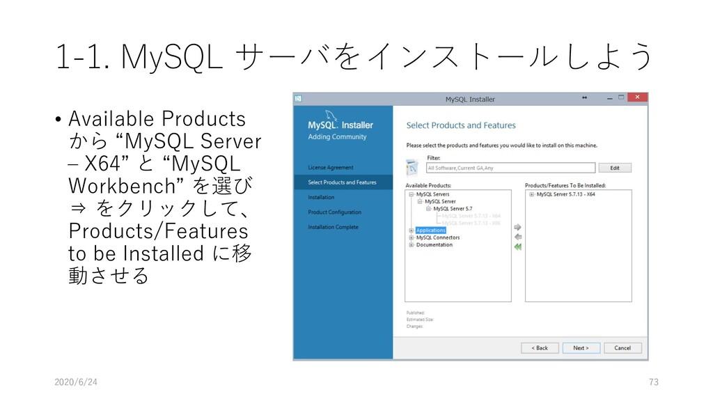 1-1. MySQL サーバをインストールしよう • Available Products か...