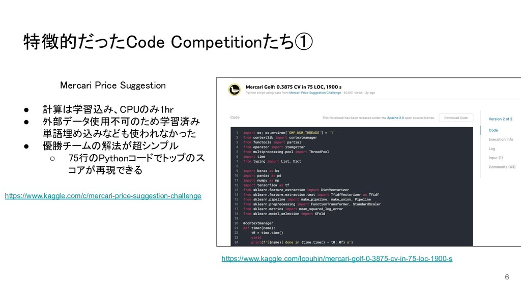 特徴的だったCode Competitionたち① 6 Mercari Price Sugg...