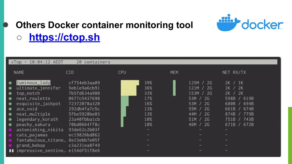 ● Others Docker container monitoring tool ○ htt...