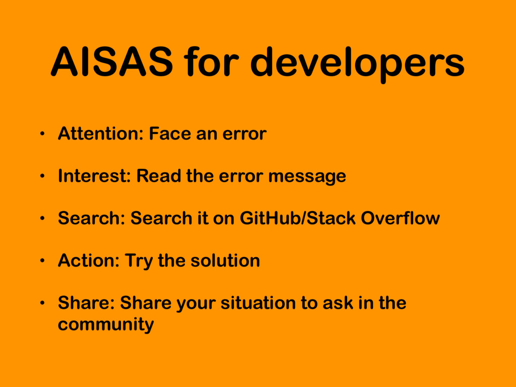 AISAS for developers • Attention: Face an error...