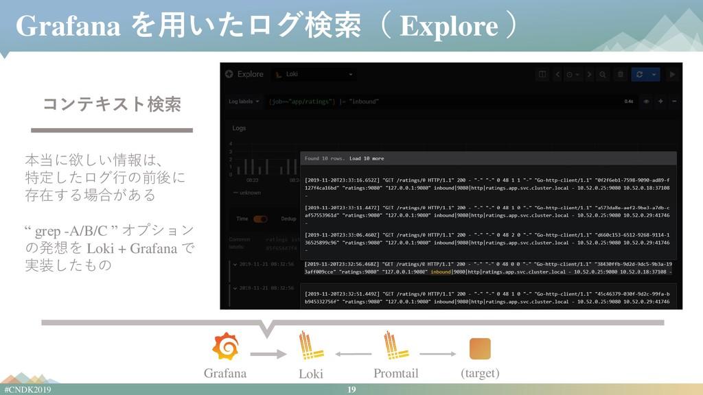 19 #CNDK2019 Grafana を用いたログ検索( Explore ) コンテキスト...