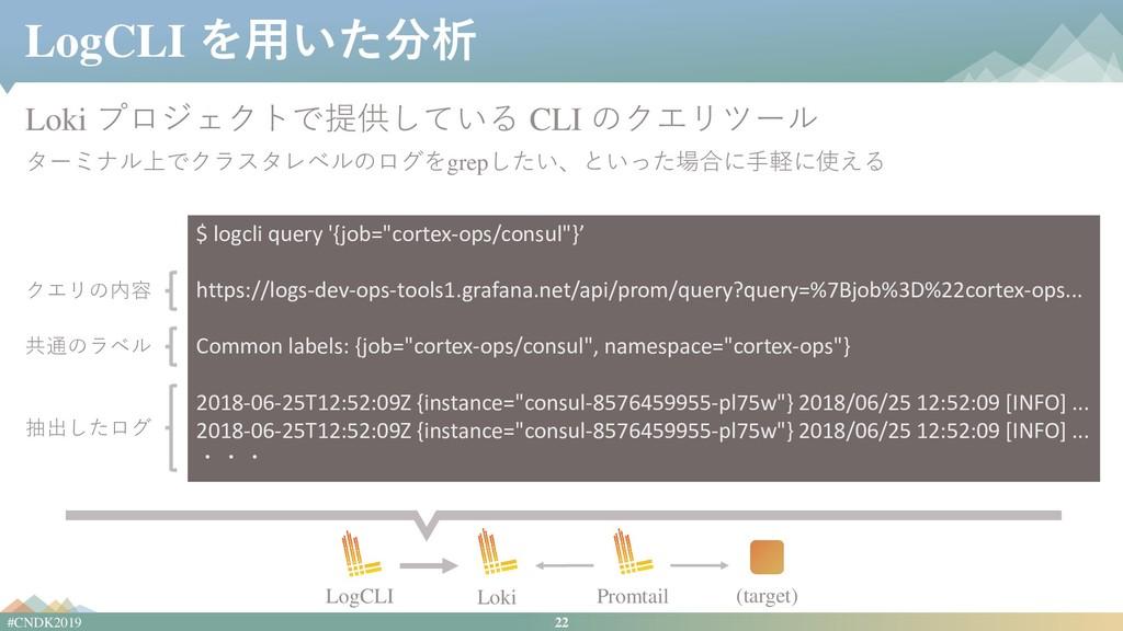22 #CNDK2019 LogCLI を用いた分析 Loki プロジェクトで提供している C...