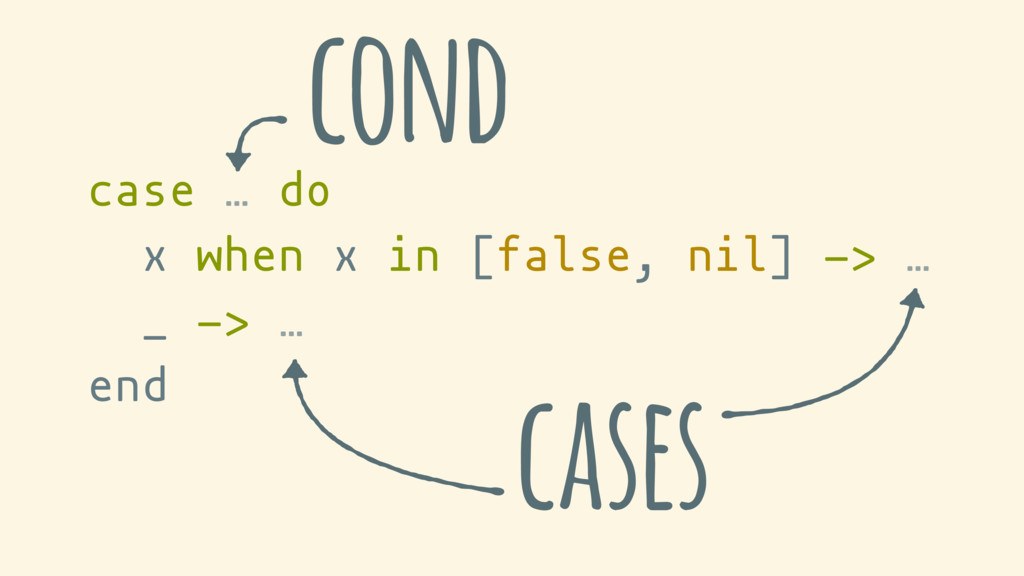 case … do x when x in [false, nil] -> … _ -> … ...