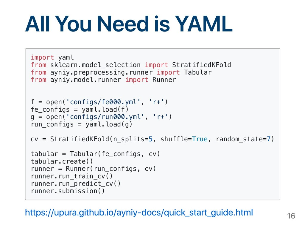 All You Need is YAML import yaml from sklearn.m...