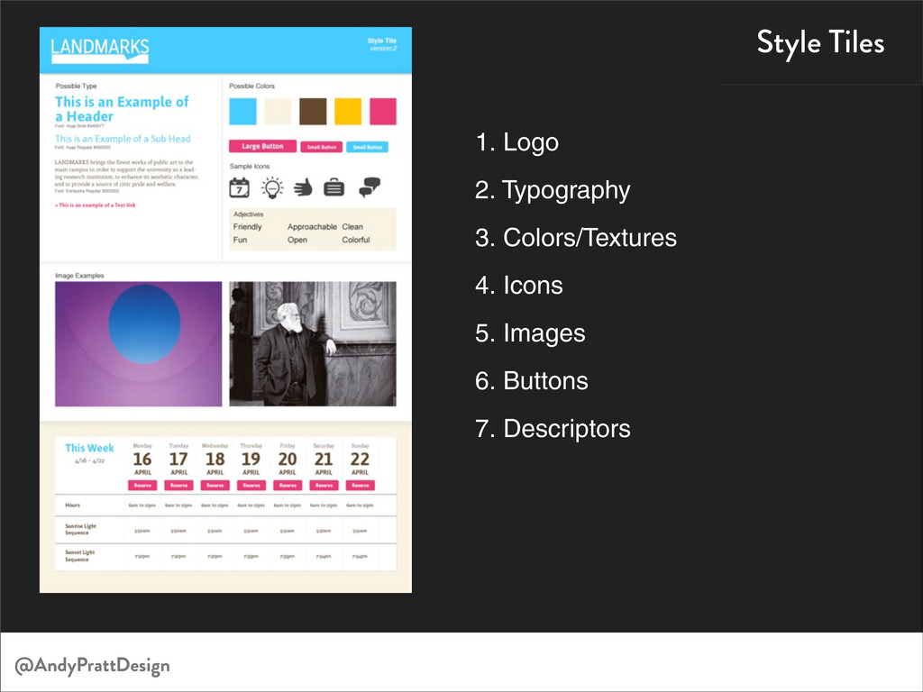 Style Tiles 1. Logo 2. Typography 3. Colors/Tex...