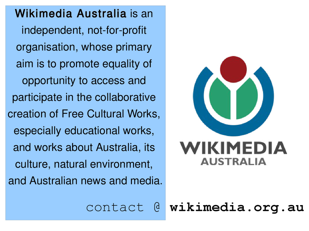 Wikimedia Australia is an independent, not-for-...