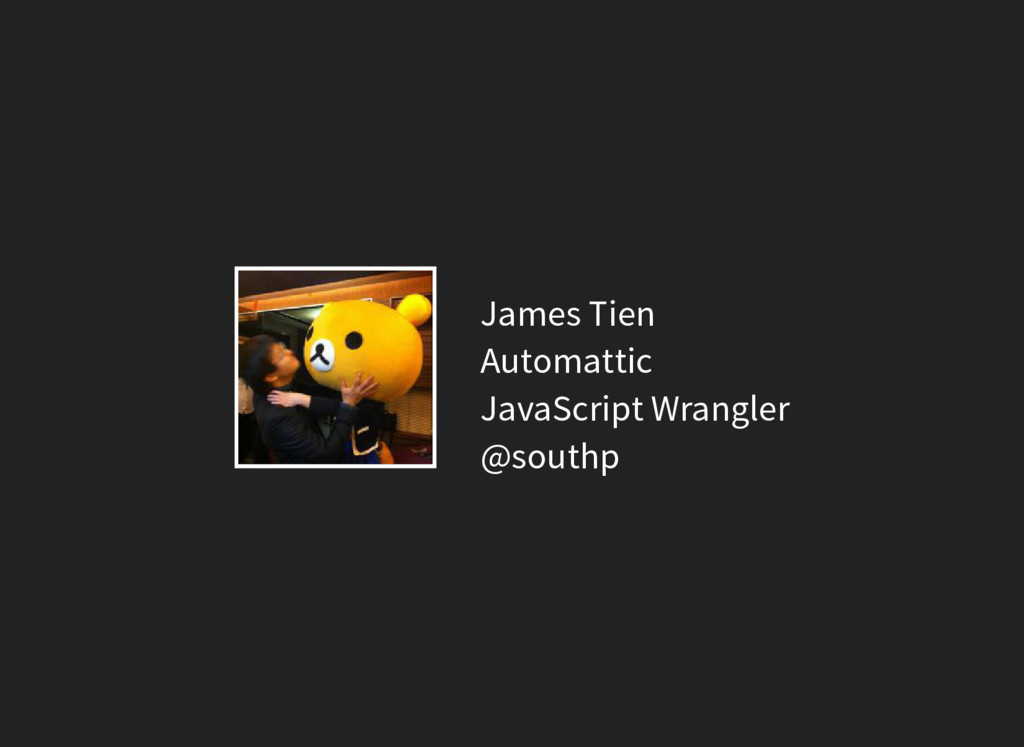 James Tien Automattic JavaScript Wrangler @sout...
